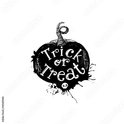 Poster Halloween Trick or treat pumpkin art concept