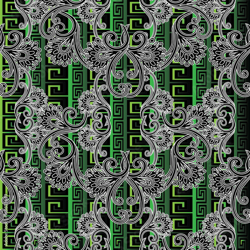 Striped Fl Seamless Pattern Green Tribal Background Wallpaper Ilration With Black White Line Art Tracery