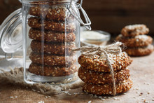 Homemade Cookies With Sesame Seeds In A Glass Jar
