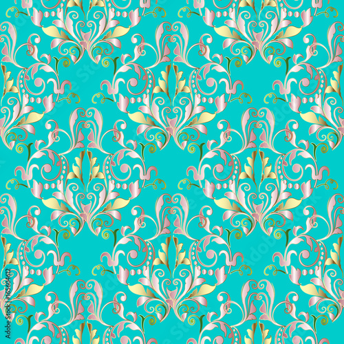 Floral Turquoise Background Wallpaper With Vintage Gold Pink Green Flowers Swirl