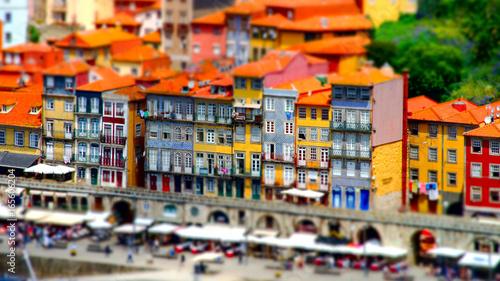 Vászonkép Colorful miniature tilt-shift view of old city center, Porto, Portugal