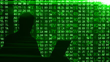 Conceptual Image Of A Hacker On Matrix Background Of Falling Green Computer Code Digits 3d Illustration
