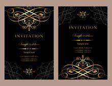 Invitation Card Design - Luxury Black And Gold Vintage Style