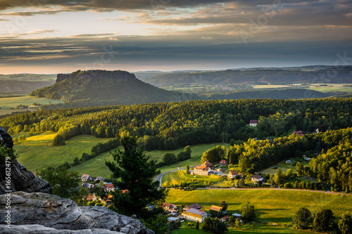 Tuinposter Canyon View on the Koenigstein fortress in Saxon Switzerland, Germany
