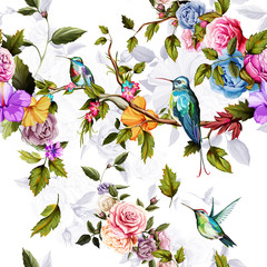 Fototapeta Róże Humming bird, roses, peony with leaves on white. Watercolor. Seamless background pattern. Vector - stock.