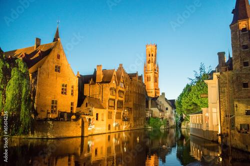 Deurstickers Brugge Night view of canal in Bruges, Belgium