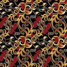 Paisley Seamless Pattern. Black Floral Background Wallpaper Illustration With Vintage Gold Red Paisley Flowers And Oriental Arabic Ornaments. Luxury Fabric Pattern Texture For Textile, Prints, Walls