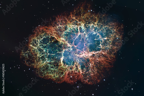 Crab Nebula in constellation Taurus. Supernova Core pulsar neutron star.