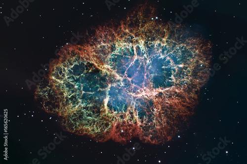 Crab Nebula in constellation Taurus. Supernova Core pulsar neutron star.