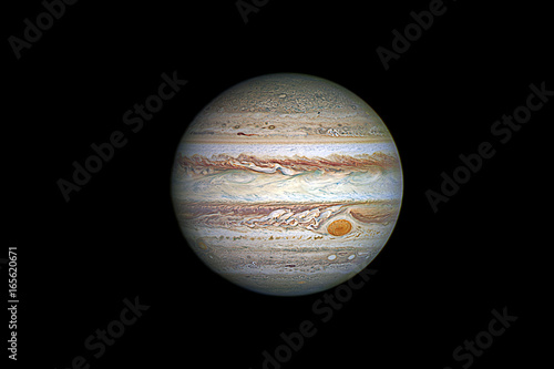 Photo Stands Nasa Jupiter planet, isolated on black.