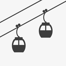 Ski Cable Lift Icon For Ski And Winter Sports.