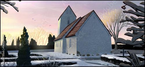 Fotografia The sun rises on a church in Jutland, Denmark