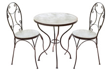 Steel Table And Chairs Isolated