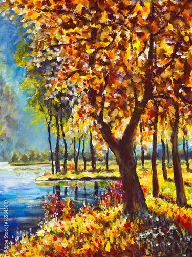 Oryginalny obraz olejny jesienią pomarańczowe złoto Drzewo na brzegu na tle niebieskiej rzeki górskiej. Piękny krajobraz. Nowoczesna sztuka malarstwa impresjonistycznego.