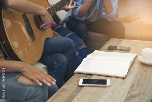 Best Music Coffee Table Books.Group Of Friends Playing Acoustic Guitar Group Of Best Friends