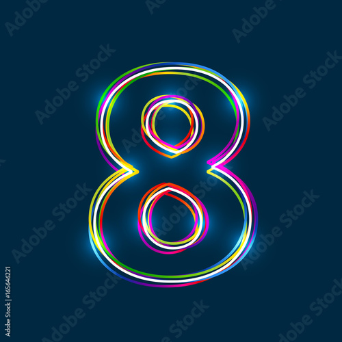 Fotomural Number 8 - Vector multicolored outline font with glowing effect isolated on blue background