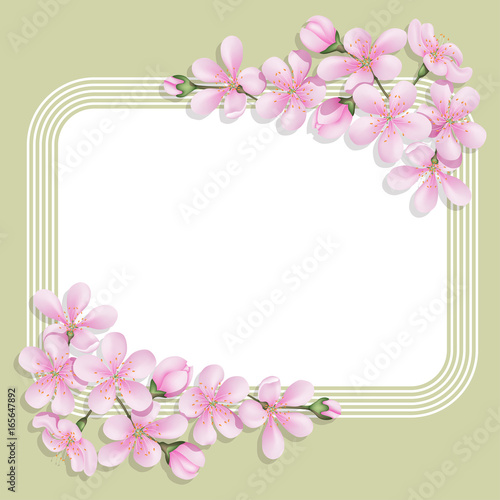card with floral print with a rectangular space for text delicate