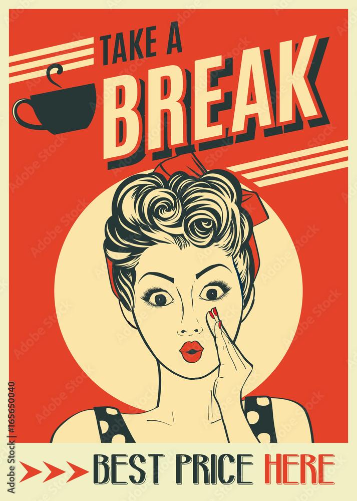 Fototapeta advertising coffee retro poster with pop art woman