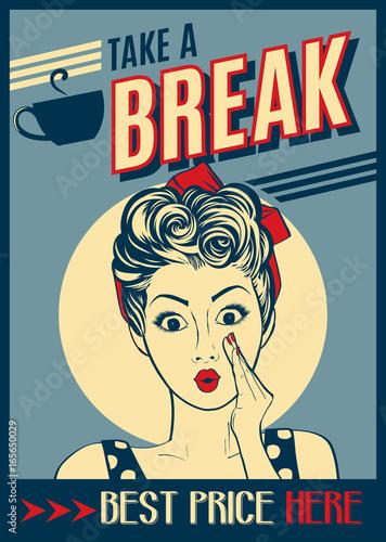 plakat retro kawy z pop-artu