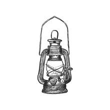 Oil Lamp Vintage Hand Drawn La...