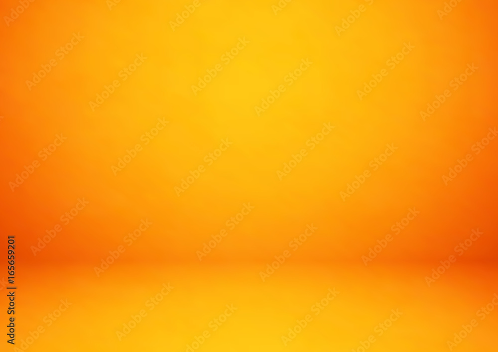 Fototapety, obrazy: Empty orange studio room, used as background for display your products - Vector