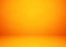 Empty Orange Studio Room, Used As Background For Display Your Products - Vector