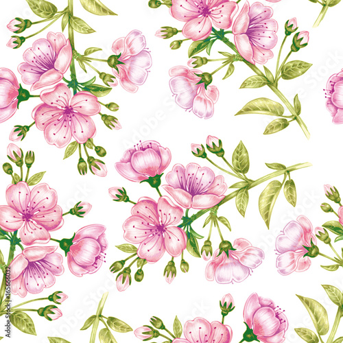 Cotton fabric Vector seamless pattern with cherriy blossom.