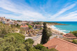 Coast of Tarragona in sunny day, Catalunya, Spain. Copy space for text.