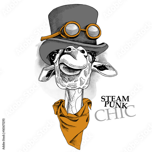 Fototapeta premium Portret żyrafy w steampunkowym kapeluszu z krawatem. Ilustracji wektorowych.