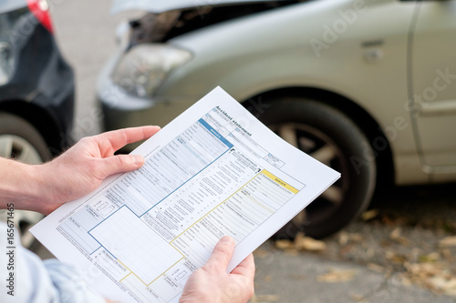 Photo Accident statement paper used after a car accident