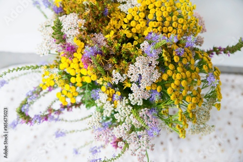 Foto  Bouquet of wild meadow and medicinal plants