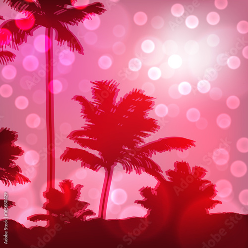Staande foto Roze Purple sea sunset with island and palm trees