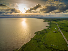 Beautiful Lake At Sunset - Aerial View