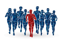 Marathon Runners, Group Of People Running, Men And Women Running Designed Using Grunge Brush Graphic Vector.