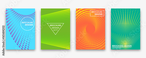 Photo  Brochure design with halftone dots and neon gradients