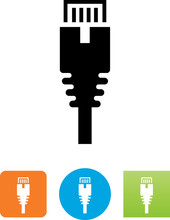 Ethernet Cable Connector Icon - Illustration