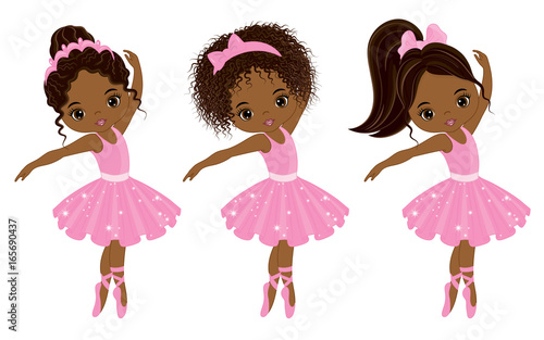 Vector Cute Little African American Ballerinas with Various Hairstyles Fototapet