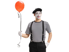 Mime Artist With A Balloon