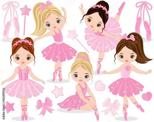 Vector Set with Cute Little Ballerinas Wallpaper Mural