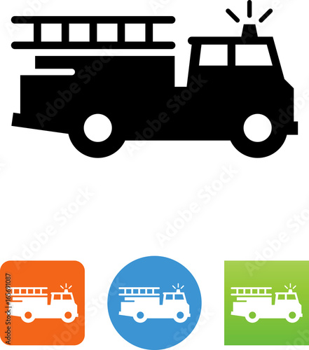 Firetruck Icon -  Illustration Poster Mural XXL