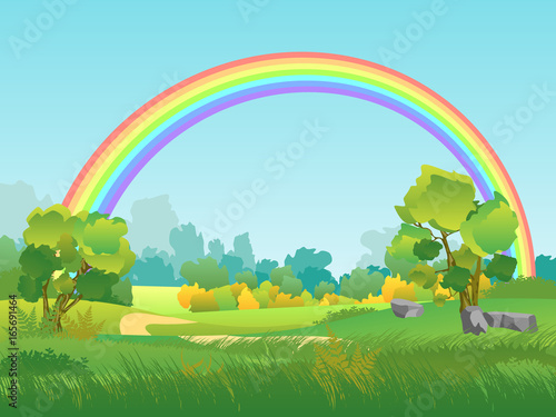 Poster Lime groen Vector Rural Landscape with Rainbow. Summertime Background with Park, Tree, Sky Illustration