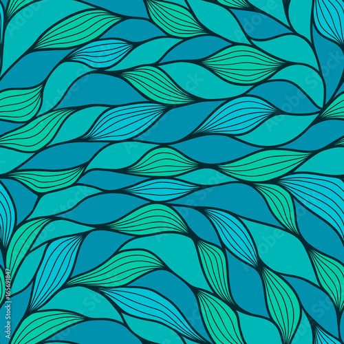 Cotton fabric Abstract wavy background in teal and blue colors. Seamless pattern. Blue and marrs green waves. Vector wave texture.