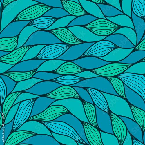 Materiał do szycia Streszczenie tło falisty, turkusowy i niebieski kolory. Jednolity wzór. Niebieski i marrs zielone fale. Tekstura wektor fala.