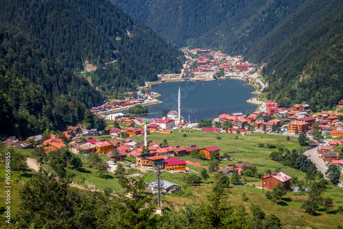 Poster Turquie Uzungol(Long Lake):One of the most beautiful tourist places in Turkey.The mountain valley with a trout lake and a small village in Trabzon,Turkey.