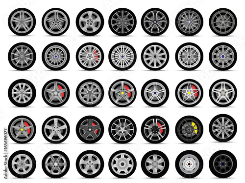 car wheels set Fototapeta