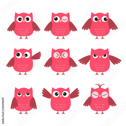 Set of cute pink owls with various emotions Fototapet