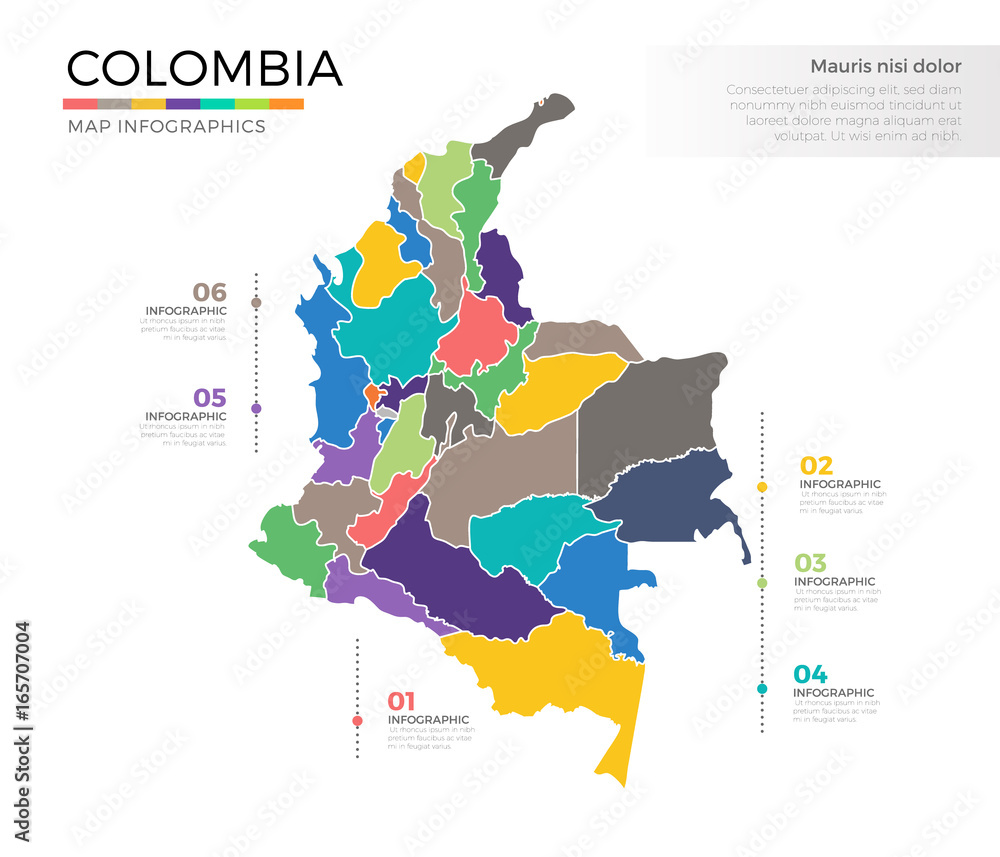 Colombia country map infographic colored vector template ...