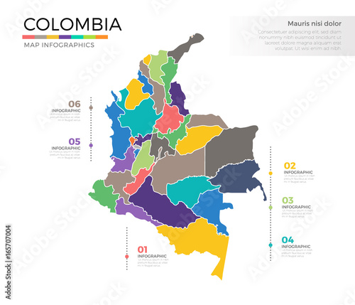 Fotografía  Colombia country map infographic colored vector template with regions and pointe