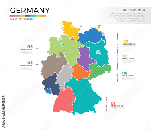 Regions Of Germany Map.Germany Country Map Infographic Colored Vector Template With Regions