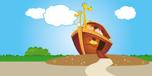 Noahs Ark On Dry Land With Open Door